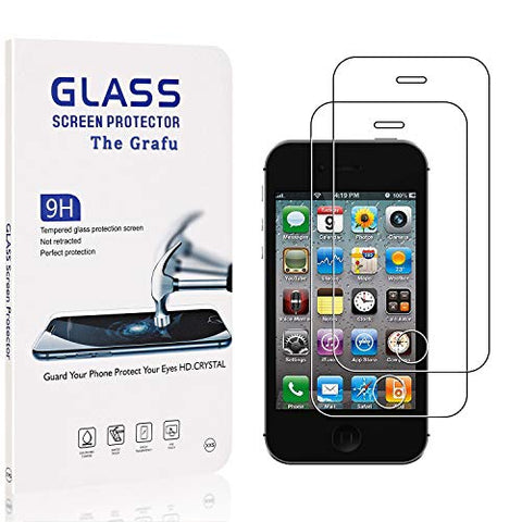 The Grafu Screen Protector Compatible with iPhone 4S / iPhone 4, Anti Scratch, 9H Hardness High Clarity Tempered Glass Screen Protector for iPhone 4S / iPhone 4, 2 Pack
