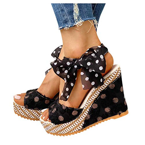 Aunimeifly Women Sandals Wedge Heel Fish Mouth Sandals Fashion Casual Strap Non-Slip Shoes (5.5, Black)