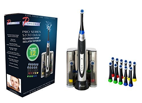 PURSONIC S330 Deluxe Ultra High Powered Rotary Oscillating Rechargeable Electric Toothbrush with Dock Charger & 12 Brush Heads (Value Pack) by PURSONIC