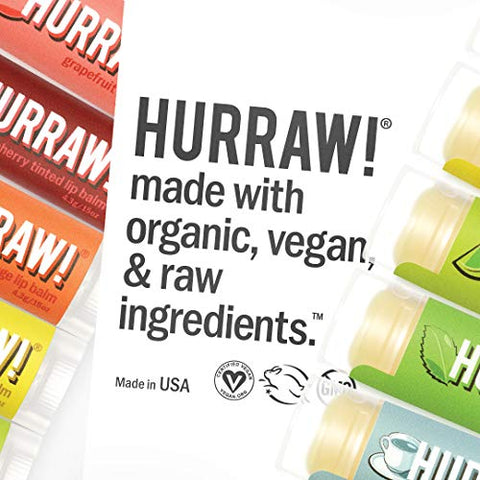 Hurraw Lemon Lip Balm, 3 Pack ?? Organic, Certified Vegan, Cruelty and Gluten Free. Non-GMO, 100% Natural Ingredients. Bee, Shea, Soy and Palm Free. Made in USA