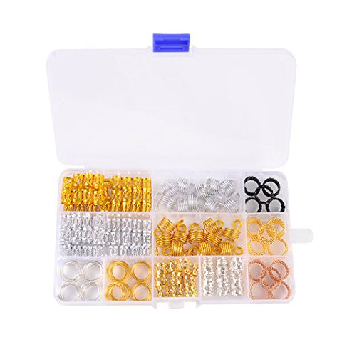 Hair Cuffs Metal Hair Braiding Beads with Crystal Aluminum Dreadlocks Accessories Spring Hair Jewelry Hair Decoration Hoops Hair Rings for Braids (200 Pcs, Multiple Styles) by Messen