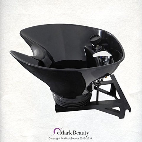 Adjustable Wall-Mounted Tilting Shampoo Bowl, Black Salon Sink, Beauty Salon Equipment for Hair Stylists - TLC-B36-WT - eMark Beauty