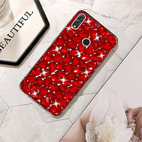 Bling Diamond Case for Huawei Honor Note 10, Mistars 3D Handmade Sparkle Glitter Crystal Rhinestone Hard PC Back Cover + Soft TPU Frame Protective Case for Huawei Honor Note 10, Red