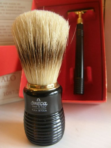 Omega Shaving Brush and Matching Omega Razor Set # 1087.2
