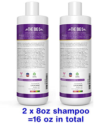 Lipogaine Hair Stimulating All Natural Shampoo for Hair Thinning & Breakage (purple) (16oz)