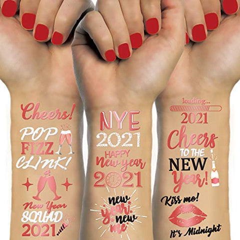 Konsait 48 Rose Gold New Years Eve Tattoos, NYE Party Favors Supplies Temporary Tattoos, NYE Happy New Year Decorations, Rose Gold Silver NYE 2021 Decor,New Year Party Favor Supplies for Kids Adults