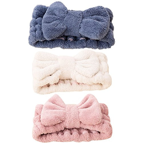 FRCOLOR 3Pcs Facial Makeup Headband Elastic Bow Cosmetic Shower Spa Headband Hairband for Women