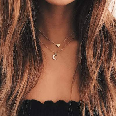 Jovono Multilayered Crescent Moon Pendant Necklaces Fashion Heart Necklace Chains Jewelry for Women and Girls (Gold)
