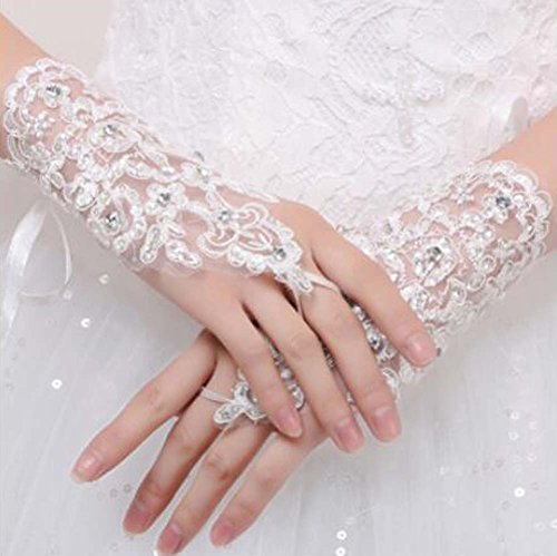 Girls/Ladies Lace Bridal Bride Short Gloves Wrist Wedding Party Costume Prom,C