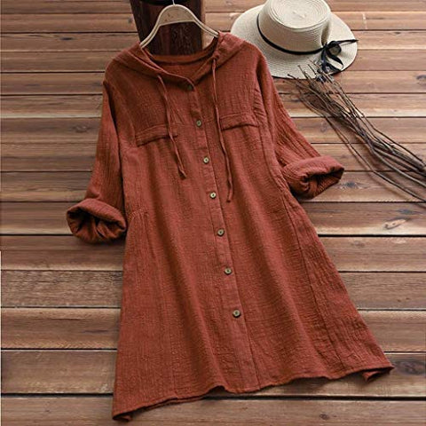 terbklf Womens Casual Plus Size Button Up Linen Tops Tee Shirt Hooded Pocket Loose Blouse Slim Long Sweatshirt for Women Coffee