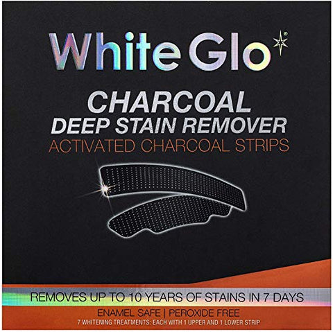 White Glo Charcoal Deep Stain Remover Activated Charcoal Strips, Remove 10 Years of Stains in 7 Days, Long Lasting Results, Comfortable Use with Non-Slip Strips, Perfect for Sensitive Teeth - 7 Uses