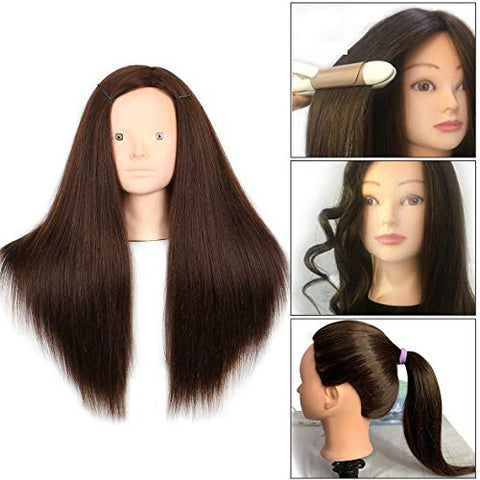 20 Inch 60% Human Hair Training Practice Head Styling Dye Cutting Mannequin Manikin Head with Free Clamp Holder Brown Hair Makeup Practice head