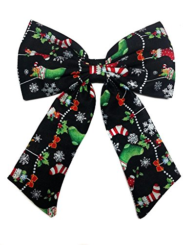 Christmas Hair Bow, Black Christmas Bow, Glitter Hair Bow, Christmas Gifts Hair Bow for Girls, Teens, Women (Barrette)
