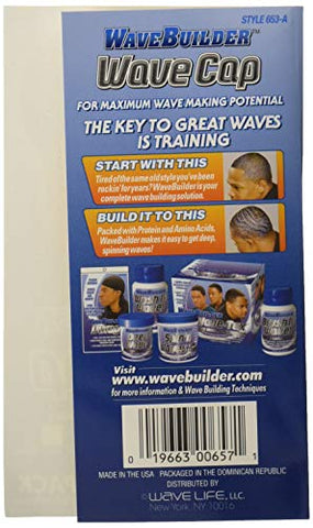 WaveBuilder Wave Cap | Promotes Healthy and Uniform Hair Waves, White, 2 Count