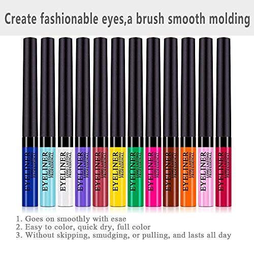 Matte Liquid Eyeliner 12 Pieces 12 Colors Professional Bright-colored Long Lasting Waterproof Eyeliner Eye Liner Pen Set, Best Liquid Eyeliner for women girl (12 Pcs)
