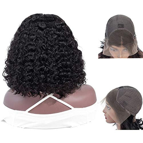 Bob Curly Lace Front Human Hair Wigs For Black Women Pre Plucked Peruvian Remy Brown Short Lace Wig Human Hair Full End Bob Wig,8Inches,13-By-4 Frontal Wig