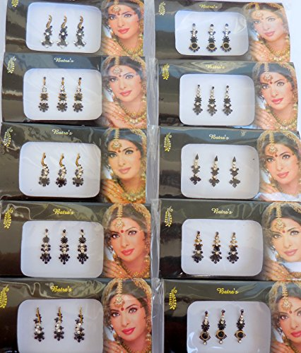 8 Bindi Pack- 24 Combo Bindi Stickers Multicolored,Silver,Gold,Black, Bindi Tattoo Bindi Jewelry