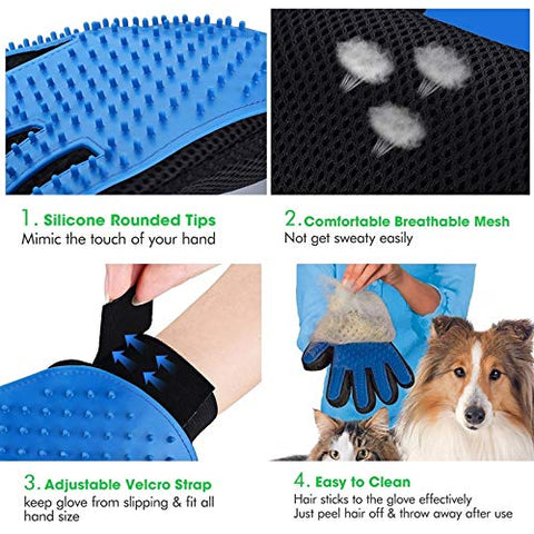 Dog brush Pet comb Right Hand Five Finger Deshedding Brush Glove Pet Gentle Efficient Massage Grooming(Blue) dog supplies (Color : Pink)