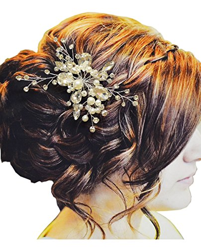 Pear Stone Floral Design Hair Comb for Women