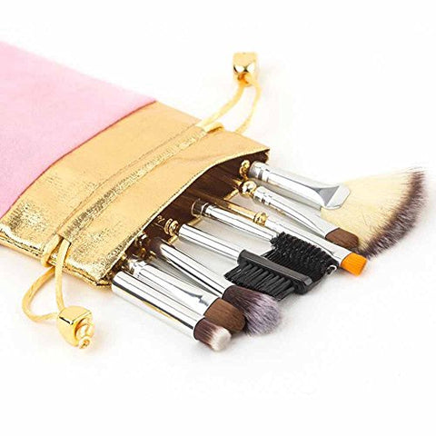 Coshine 8pcs Sailor Moon Makeup Brush Set With Pouch, Magical Girl Gold Cardcaptor Sakura Cosmetic Brushes With Cute Pink Bag