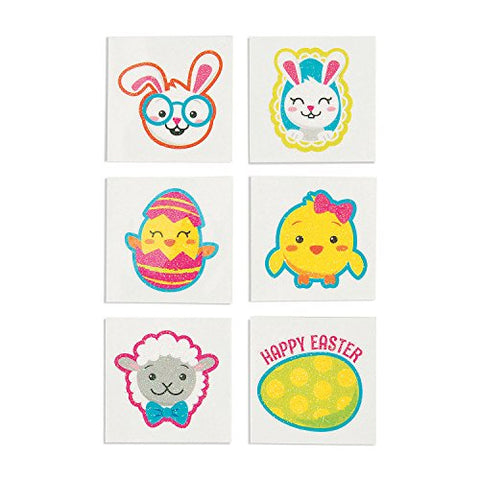 EASTER GLITTER TATTOOS - Apparel Accessories - 72 Pieces