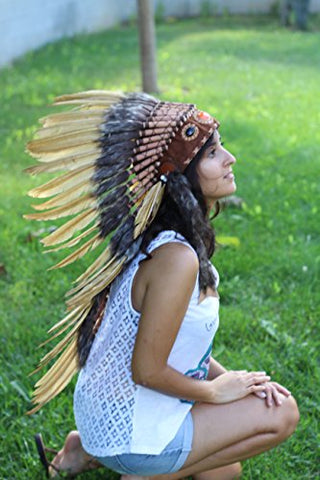 Medium Gold Feather Headdress | Native American Indian Inspired.