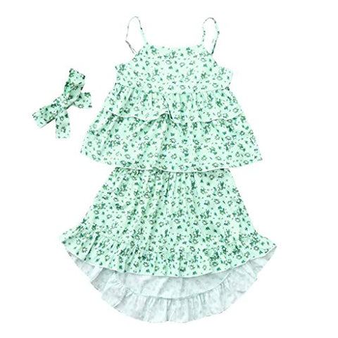 terbklf Toddler Kids Baby Girls Summer Slim Sleeveless Solid Straps Rompers Jumpsuits Piece Pants Clothing Green