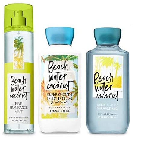 Bath and Body Works BEACH WATER COCONUT New Daily Trio Gift Set - Body Lotion - Fragrance Mist & Shower Gel -Full size