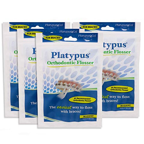 Platypus Ortho Flossers For Braces 30 Count Bag (4 Pack)