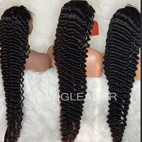 Deep Wave Pre plucked Lace Front Wigs Human Hair Glueless Full Lace Wigs by WigLeader (24 inch, full lace wig)