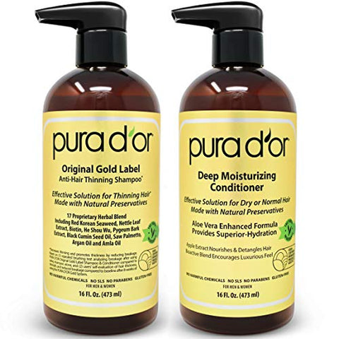 Pura D'or Biotin Original Gold Label Anti Thinning (16oz X 2) Shampoo & Conditioner Set, Clinically