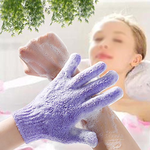 2 Pair Exfoliating Body Gloves Bath Scrub Wash Mitts Skin Massage Sponge Towel Deep Cleansing Dead S