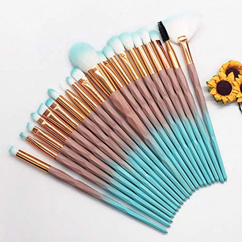 20pcs Diamond Makeup Brush Set Eye Beauty Tools Fan Powder Eyeshadow Contour Cosmetic Colorful For Make Up Tool,Pink
