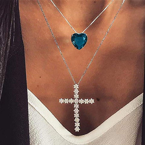 Jovono Silver Multilayed Cross Pendant Necklaces Fashion Blue Heart Crystal Necklace Chain Jewelry for Women and Girls