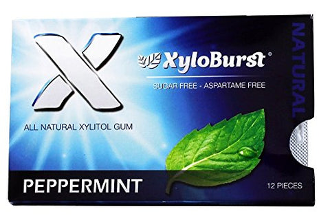 Xyloburst Blister Pack Xylitol Gum, Peppermint, 12 Count