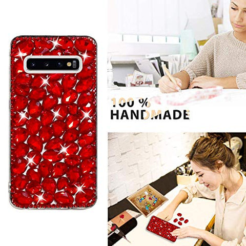 Bling Diamond Case for Samsung Galaxy S10, Mistars 3D Handmade Sparkle Glitter Crystal Rhinestone Hard PC Back Cover + Soft TPU Frame Protective Case for Samsung Galaxy S10, Red