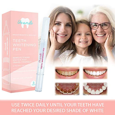 Teeth Whitening Pen - Whitening Gel - Whitening Kit - 3 Pack Teeth Whitener For Beautiful Smile Removes Years of Stains Travel-Friendly
