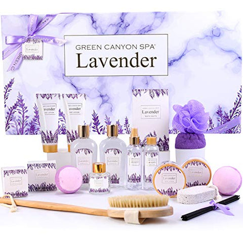 Lavender Spa Gift Baskets for Women, 19 Pcs Home Bath Gift Kit Most Luxurious Birthday Spa Gift Set Includes Large Bath Bombs, Body Lotion, Dry Hair Cap, Bubble Bath. Lovery Gift Set for Women or Men