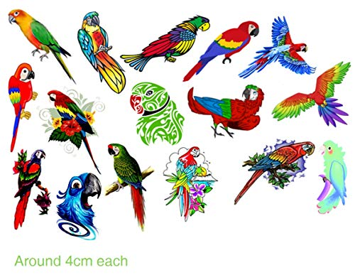 Kaz Creations Parrot Temporary Tattoos