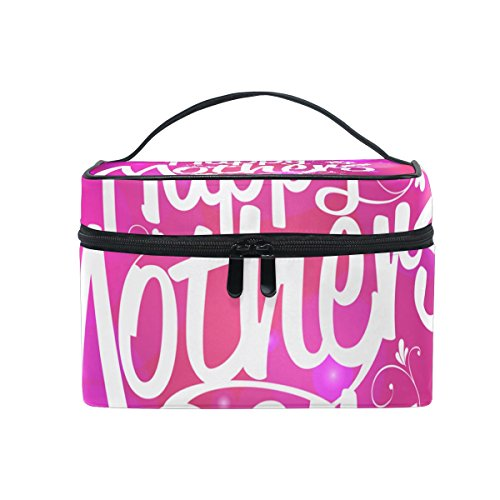 Happy Mothers Day Travel Makeup Toiletry Organizer Case Cosmetic Bag