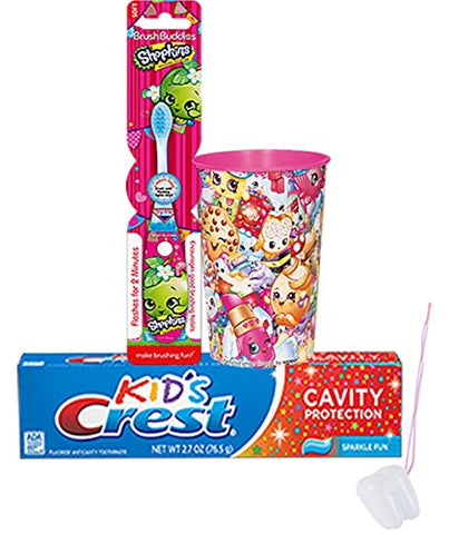 Shopkin 3pc Bright Smile Oral Hygiene Set! (1) Shopkins Light- Up Toothbrush, Crest Kids Sparkling Toothpaste & Mouthwash Rinse Cup! Plus Bonus