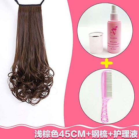 Wig Ponytail Woman Long Curly Hair Tied With Pear Flower Big Wave Wig Piece 45Cm Light Brown