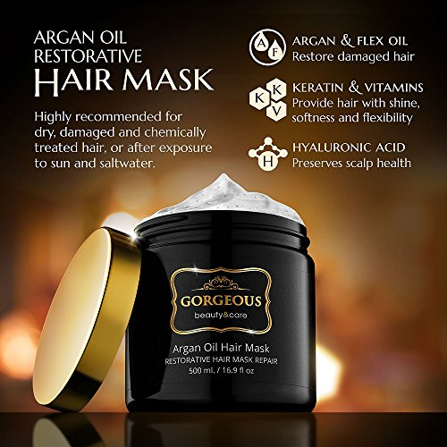 Hydrating Argan Oil Hair Mask And Deep Conditioner By Gorgeous For Dry Or Damaged Hair   16.9 Ozâ