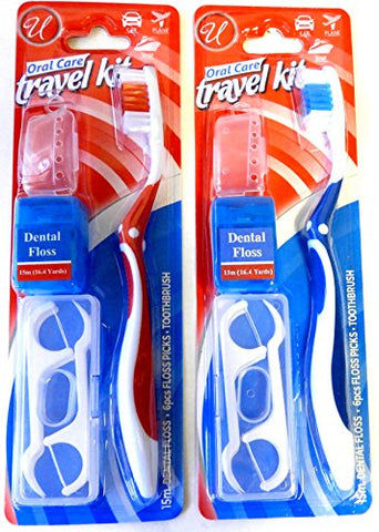 Oral Care Dental Travel Kit Toothbrush Floss Floss Picks and Cover Set of 2