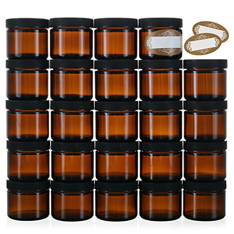 2 Oz Small Glass Jars with Air-tight Lids - 24 Pack Empty Little Glass Refillable Cosmetic Containers with Labels - Amber - BPA Free