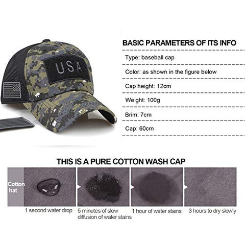 GHrcvdhw Tactical Operator Cap Hat US Flag Printed Patches for Military Fishing Hunting Multicam Camo July 4th Baseball Hat (Camouflage)