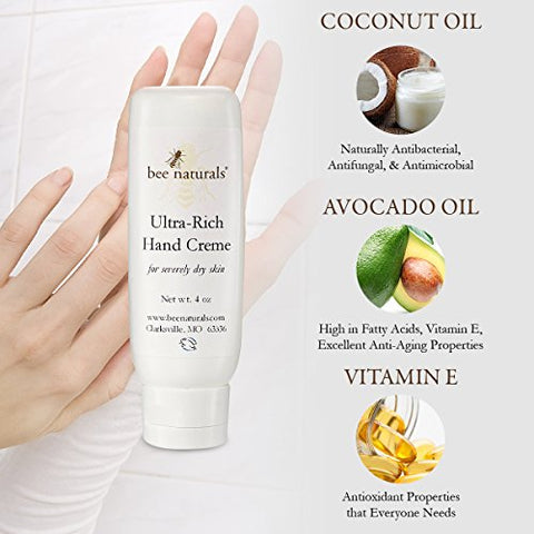 Ultra Rich Hand Cream - Most Effective Anti-aging - Soften & Hydrate - Vanilla Butter Cream Fragrance - Coconut + Olive Oil - Skin Care Vitamin E - Paraben-free - Cocoa Butter, Beeswax