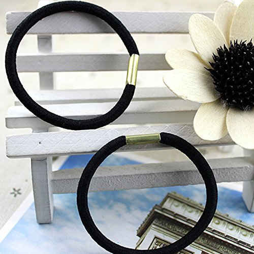 Polytree 10Pcs Black Hair Elastics Hair Ties Hair Bands Bulk Ponytail Holders
