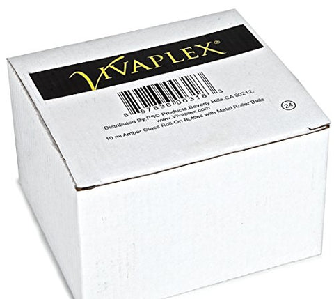 Vivaplex, 24, Amber, 10 ml Glass Roll-on Bottles with Stainless Steel Roller Balls. 3-3 ml Droppers included