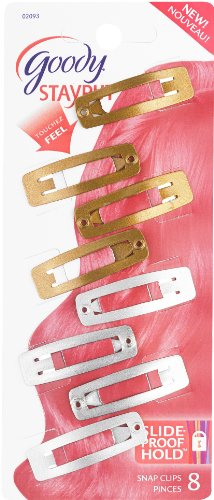 Goody Slide Proof Stayput Small Rectangle Contour Hair Clips, 8 Count (Pack of 3)